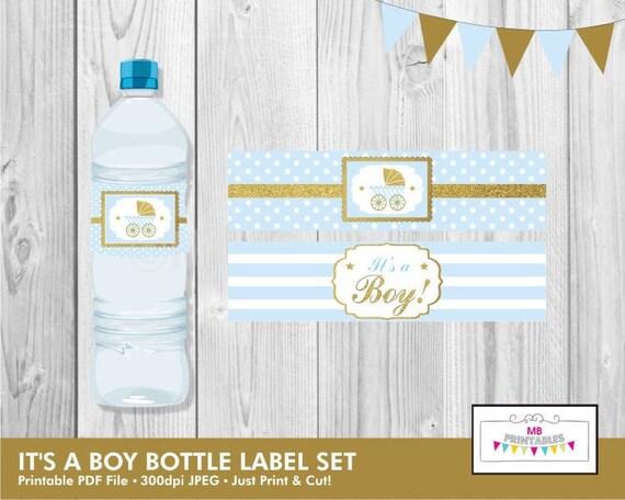 Its A Boy Water Bottle Labelsbaby Shower Water Bottle Etsy