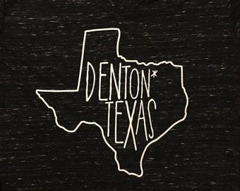 Denton* Texas // TShirt Tank Raglan VNeck // Customizable! // UNT TWU North Texas