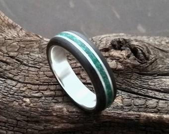 Smoked Oak Silver Malachite Bentwood Ring Silk Matte