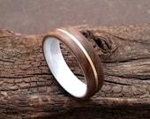 Ceramic European Walnut Maser Wood Yellow Gold Inlay Bentwood Ring Matte