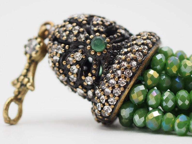 Bohemian Tassel Shiny Beads Tassel Necklace Ottoman Jewelry Antique Bronze Tassel Cap Crystal Tassel Pendant Green Beaded Tassel