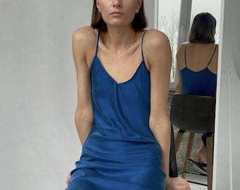 90s blue silk dress midi Bias cut slip dress Royal blue dress with straps Washed V neck silk slip dress Classic slip Natural mulberry silk