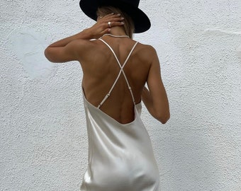 Silk dress 100% silk slip dress midi Silk mini dress Silk basics Silk dresses for women White silk satin dress White satin dress White silk