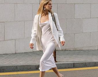 Sand washed white silk dress Women silk slip dress with cowl neck Long backless silk dress Openback slip dress Serenity White slip dress