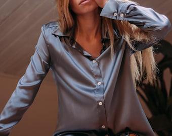 Vintage graphite gray blouse  gray silk button up shirt  Vintage silk shirt  silk button up blouse  formal elegant blouse
