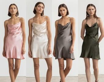MANY COLORS Silk dress cowl neck Silk slip dress mini 100% silk mini dress Bridesmaid dress Summer clothing Silk satin mini dress Bias cut