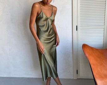 Aquamarine silk slip midi dress Silk slip trends dress bridesmaid style dress bias slip prom dress date dress midi slip dress