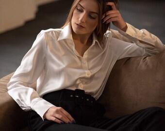 f9c3e1a7ca9d7 Women silk shirt in white Cream silk blouse Long sleeve blouse Womens button  down shirt Office silk shirt Silk clothing Silk basics Silk top