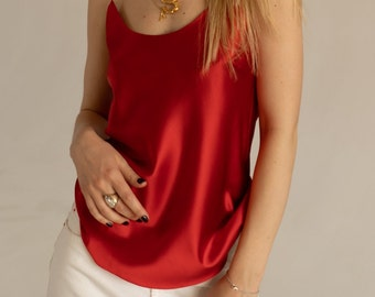 09780fb0f6904 Red silk camisole Scoop-neck silk-satin red cami top Classic simple silk  top Red silk shirt Sleeveless vest tank shirt Silk clothing
