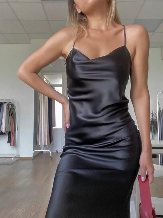 Narural Silk Slip 90s Dress Bias slip dress Silk slip Silk slip dress black Silk camisole Silk Chemise thin straps valentines gift