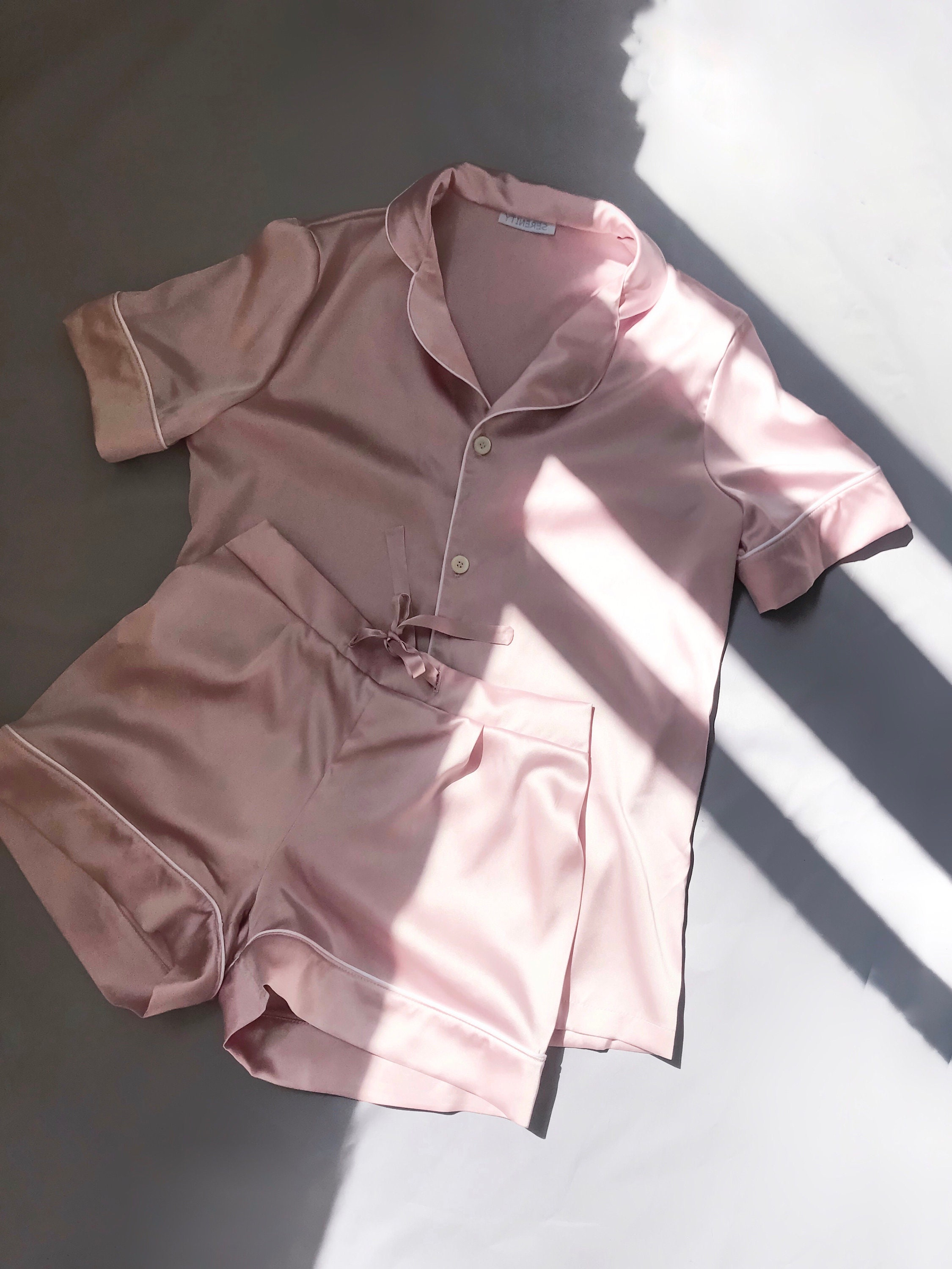 0e74be9705e9 Silk pajama set shorts Silk pajamas pink Silk pyjamas Silk set