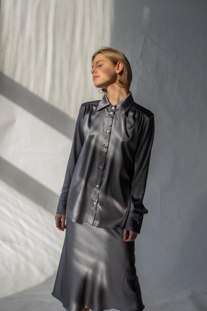 794eecc14ebe2 Women silk shirt in silver Grey silk blouse Long sleeve blouse