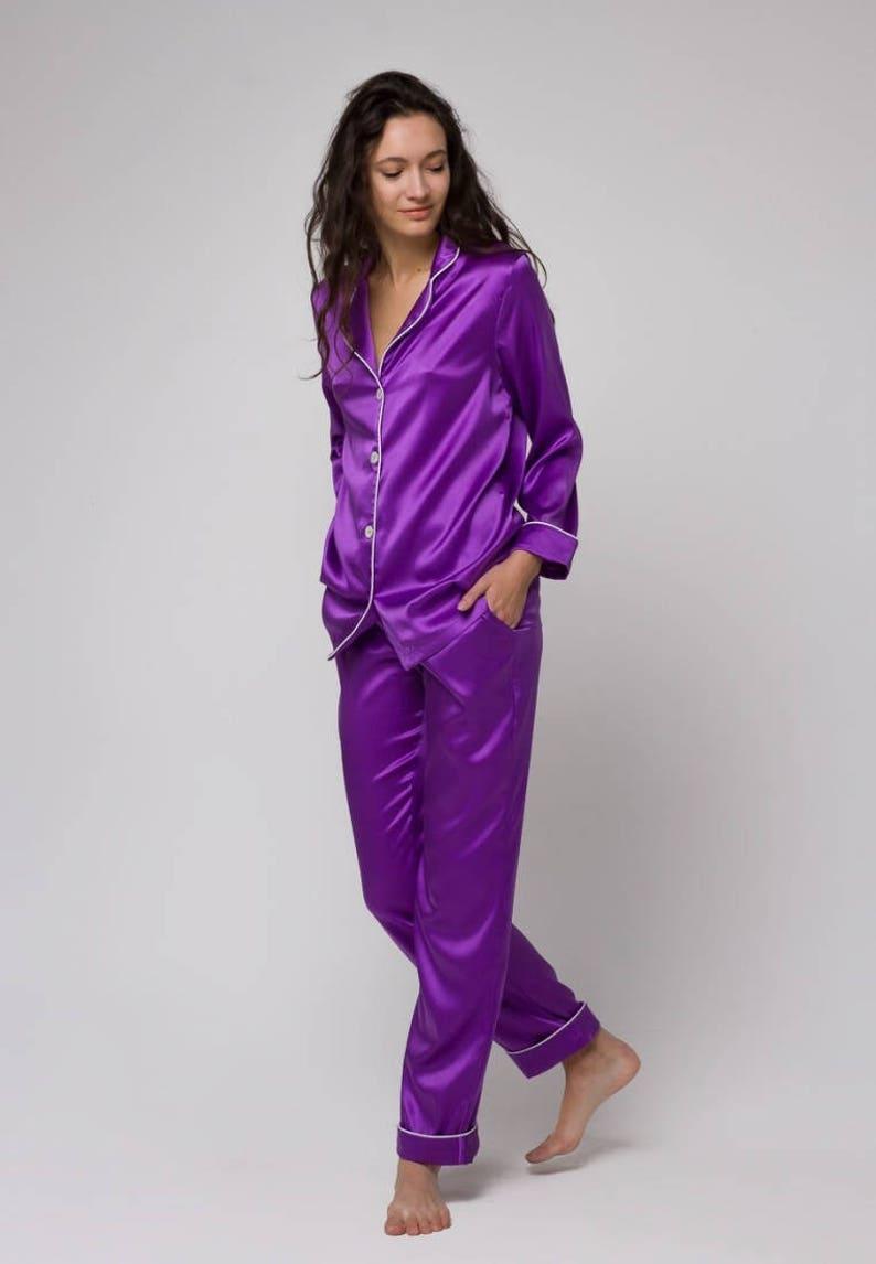 Silk pajamas set Silk long pajama Silk pyjamas womens Silk  c9fb30a9a