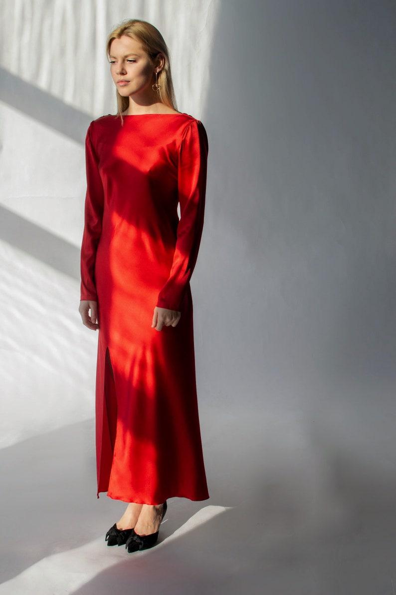 d5f666d3a71 Red silk dress open cowl back Backless long red dress Long