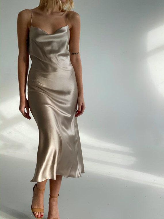 Cowl neck silk slip dress midi Silk slip bias dress gray beige Silk bridesmaid dress Silk dress Silk clothing Pearl slip dress Date dress