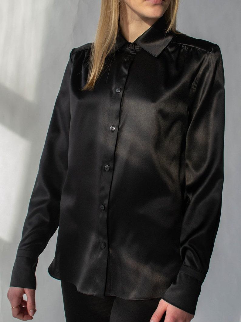 bdca1b5abc551a Women silk shirt in black Silk blouse Long sleeve blouse