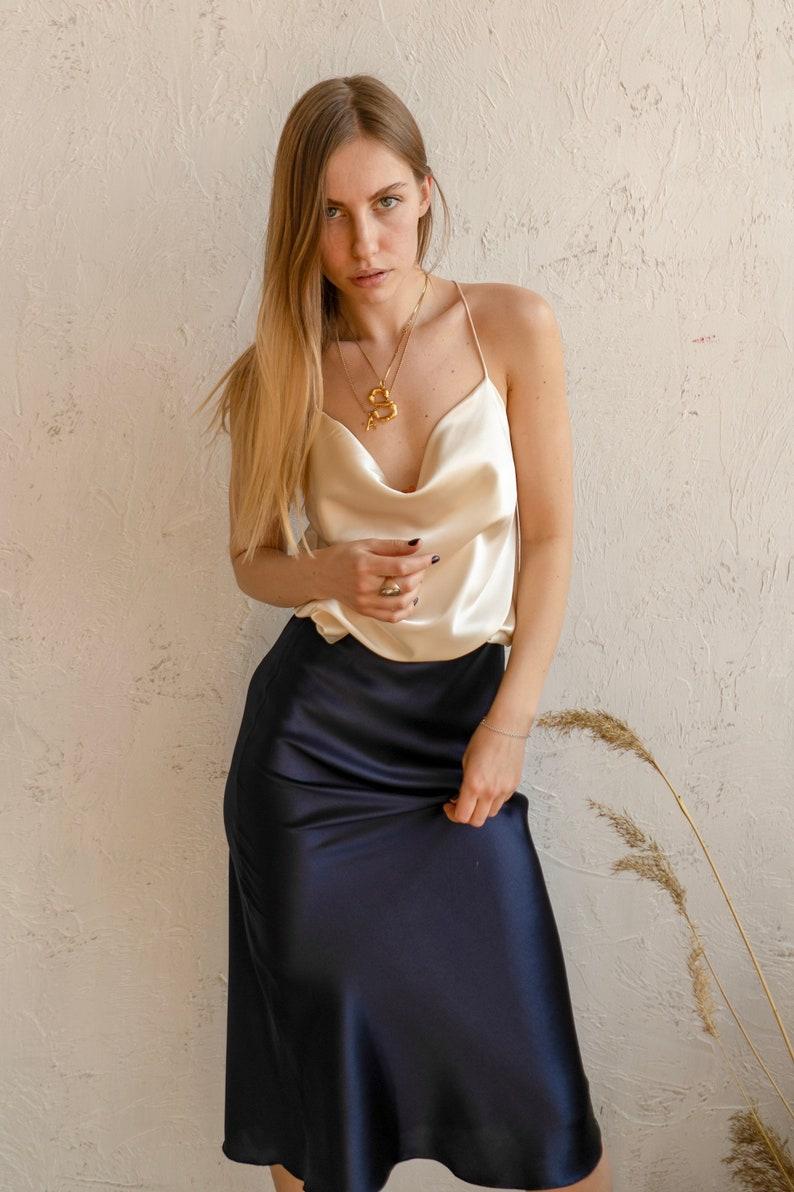 8823bfc950f6 Cowl neck cream silk silk-satin cami top Silk top with cowl | Etsy