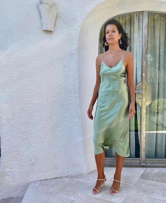 Green Silk Dress Lily Slip Dress Ahimsa Silk