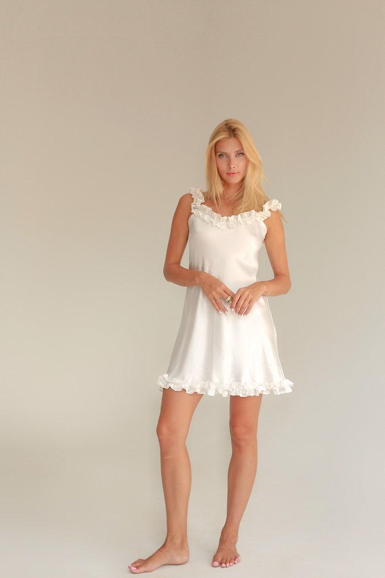 07f8add0e36a Silk slip white dress with frills White ruffled dress Wedding | Etsy