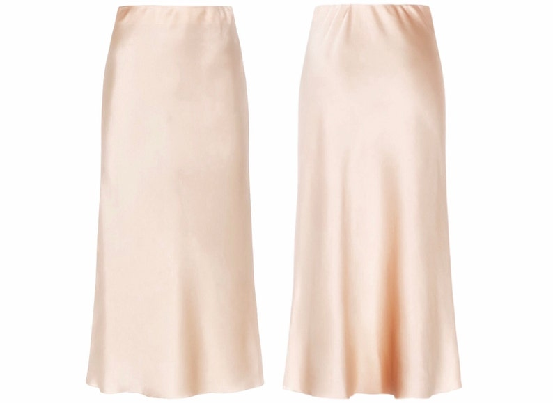Silk slip skirt midi Cream silk satin skirt Silk slip bias cut image 0