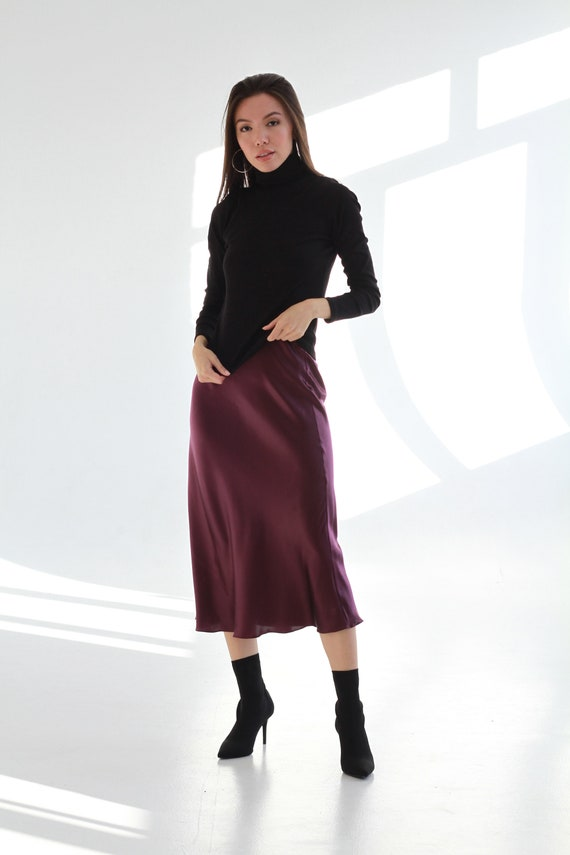 Plum silk slip skirt midi Violet skirt satin bias cut Silk clothing Silk basics Midi plum skirt pencil