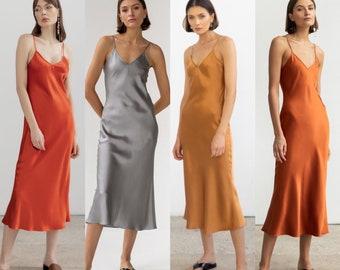 MANY COLORS V-neck silk slip dress midi Silk bridesmaid dress Wedding guest dress 90s silk slip dress Date dress 100% silk dress bias cut