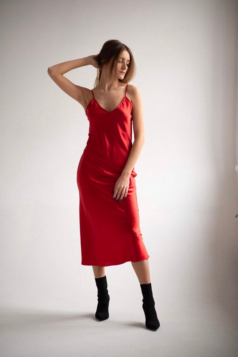 55da683ebda Silk bias red slip dress Silk slip Silk camisole Red silk