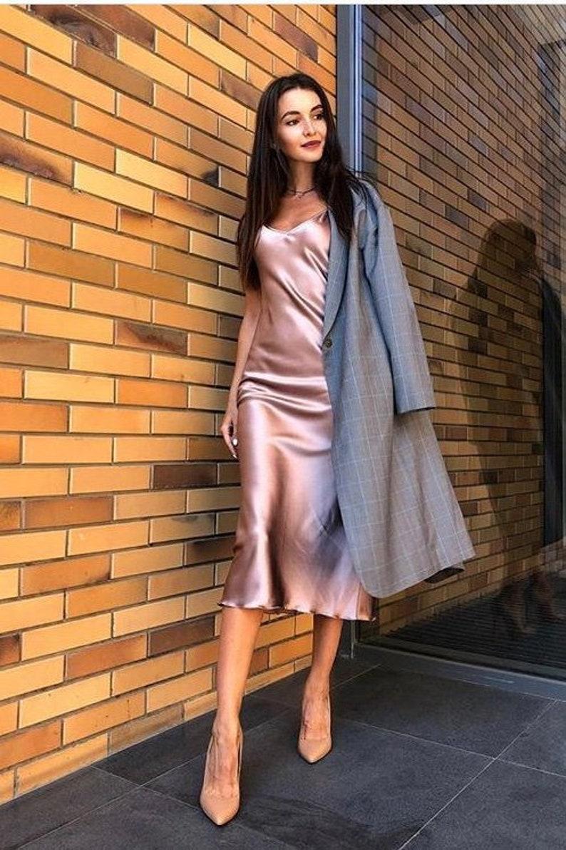 9c654e2196bf59 Silk bias dress Silk slip dress pink gold Pure silk camisole