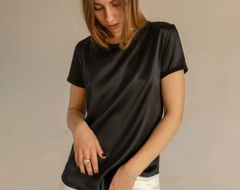 COLORS Women's silk tee Black silk shirt for women Pure silk tshirt Modern silk blouses short sleeve Black silk top Black silk shirt women