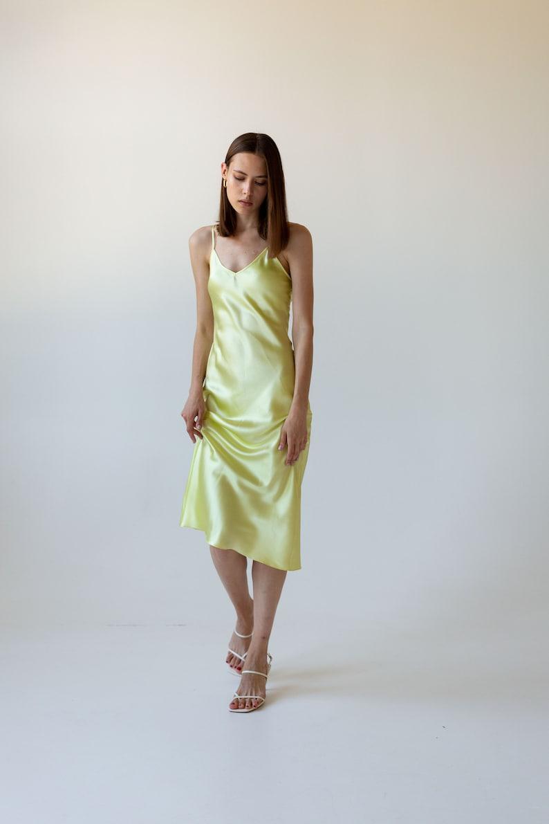 d2e7a3f4593be Lemon silk slip dress midi Silk cami dress Pastel yellow silk dress  Yellow-green sheer silk satin dress bias cut Date dress Sheryl slip
