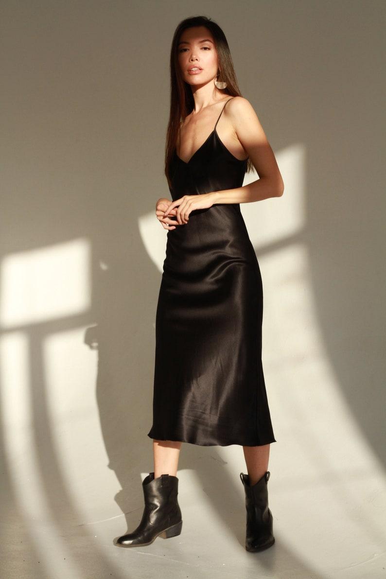 Natural silk slip dress black midi Silk cami dress Black silk image 0