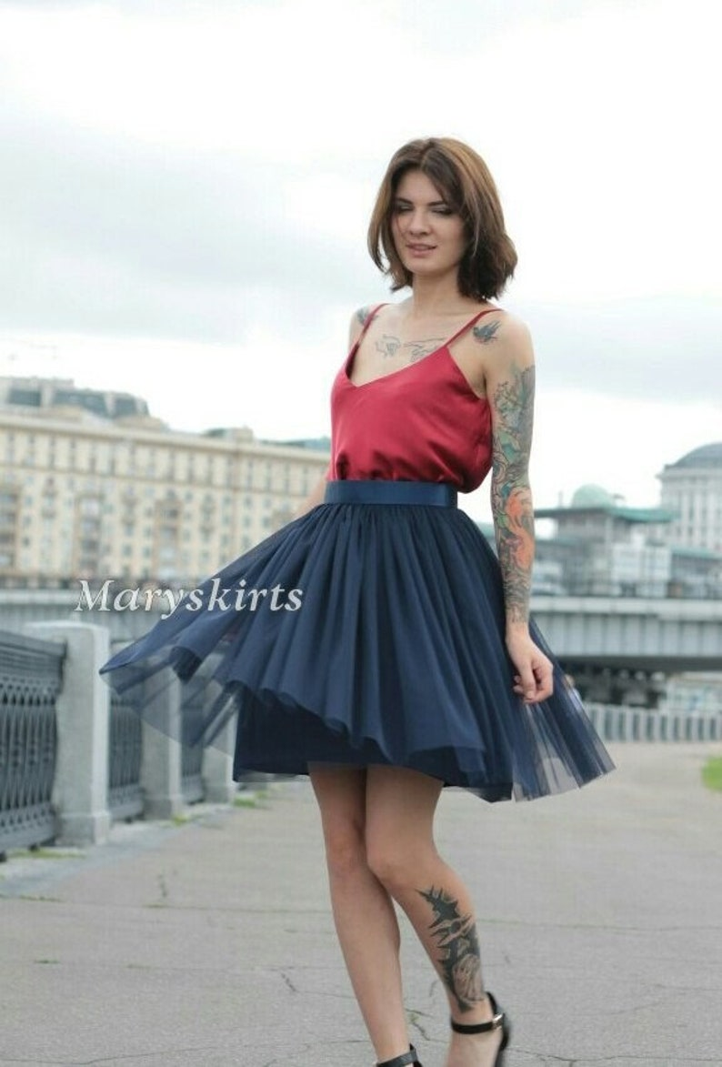 tulle skirt with matching lining non-fluffy Stretch color Deep Blue