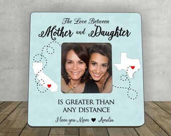 Gift for Mother,Mother's Day Gift for Mother,Mother Daughter Gift Personalized Picture Frame,Long Distance Mother Daughter Gift, Distance