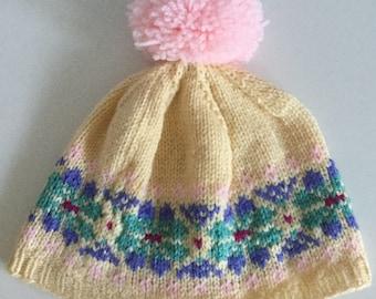 Yellow child's Fair Isle hat