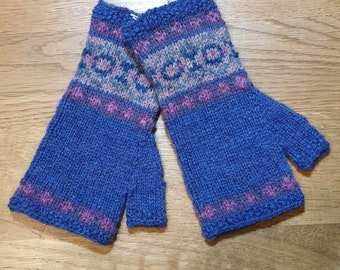 Purple hand knitted Fair Isle mittens