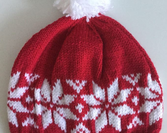 Red Fair Isle Pom-pom Hat