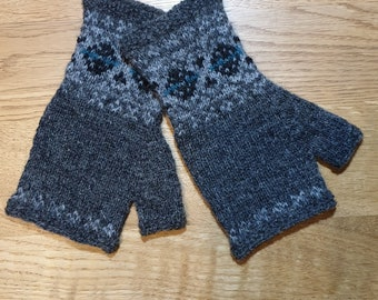 Grey hand knitted Fair Isle mittens