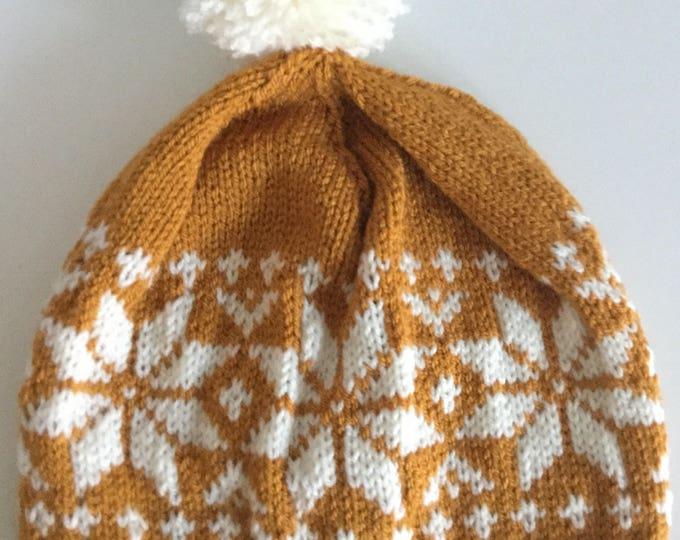 Gold Fair Isle Pom-pom Hat