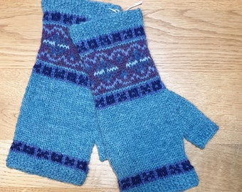 Turquoise blue Fair Isle mittens