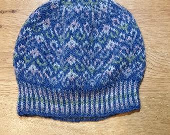 Blue hand knitted Fair Isle beanie / hat made using 100% Shetland Wool