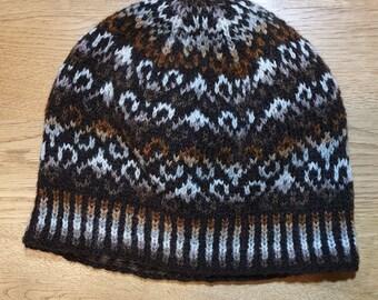 Brown Fair Isle hand knitted hat / beanie