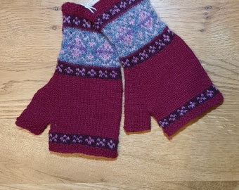 Deep pink hand knitted Fair Isle mittens