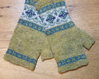Yellow Fair Isle hand knitted mittens