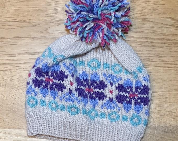 Child's Fair Isle pom-pom hat