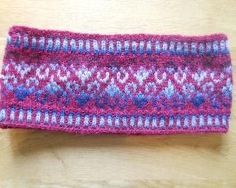 Red Fair Isle headband