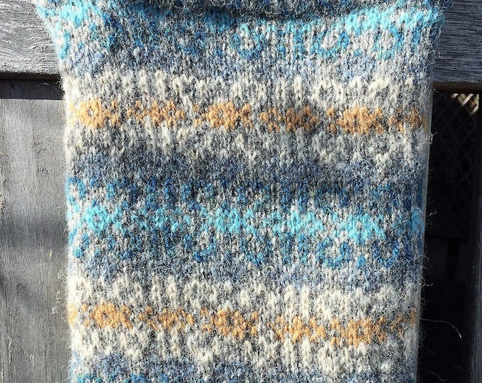 Blue and grey hand knitted Fair Isle crossbody bag