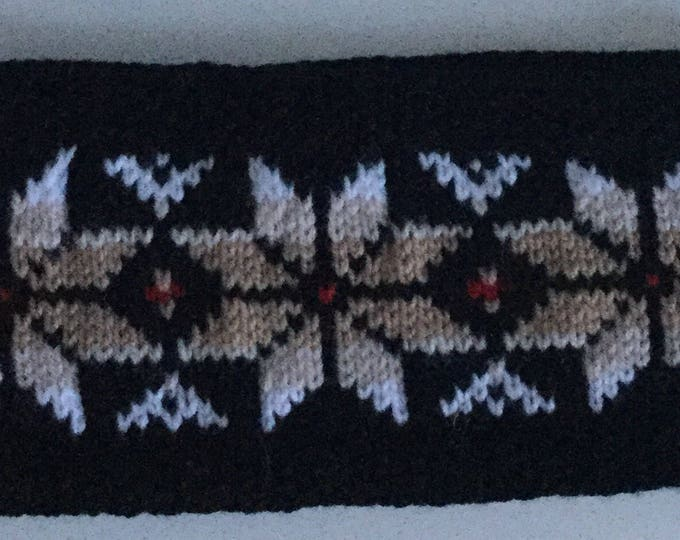 Black Fair Isle headband
