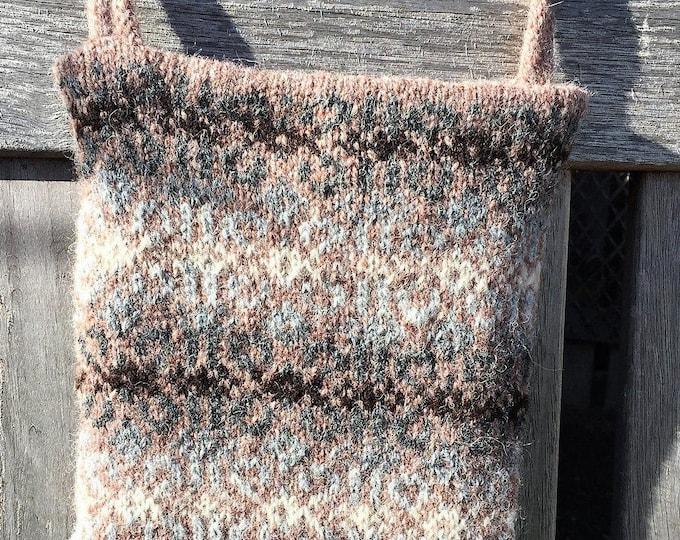 Brown hand knitted Fair Isle crossbody bag