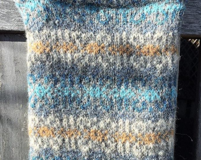 Blue and grey hand knitted Fair Isle crossbody bag