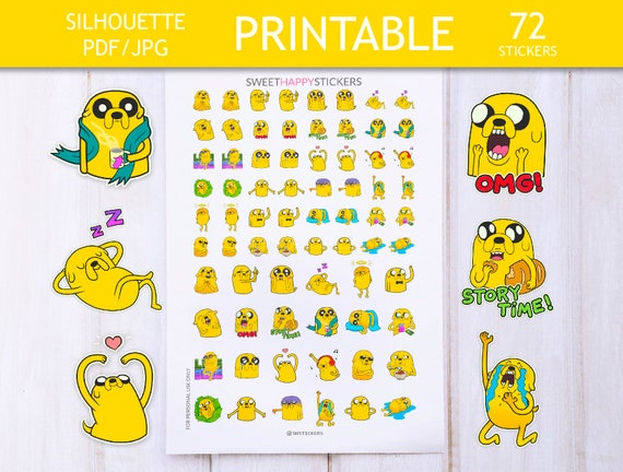 Printable Stickers Adventure Time Jake The Dog Relax Etsy